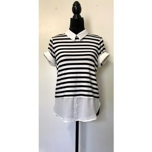 Elle Black and White Striped Knit Hi Low Blouse S